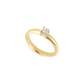 18k Yellow Gold Princess Cut Diamond Ring 0.23ct H/VS2